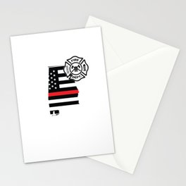 Alabama Firefighter Shield Thin Red Line Flag Stationery Cards