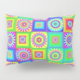 Multicoloured Patchwork Flowers Hippy Style Pillow Sham
