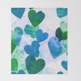 Fab Green & Blue Grungy Hearts Design Throw Blanket