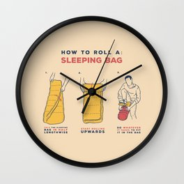 How to roll a sleeping bag Wall Clock