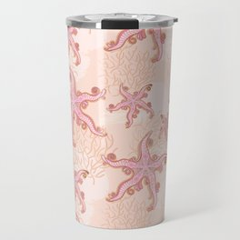 Starfish and Coral Pink Pastel Pattern Travel Mug