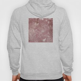Gentle Pink and Feathery Silver Palm Leaves Pattern Hoody