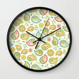 Hedgehog Paisley_Green outline Wall Clock