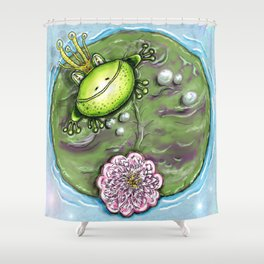 Frog Prince on His Lily Pad Shower Curtain