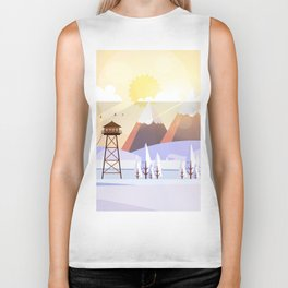 Vector Art Landscape with Fire Lookout Tower Biker Tank