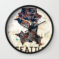 seattle Wall Clocks featuring Seattle by Artful Schemes