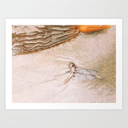 dragon fly beach Art Print