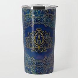 Elegant  Gold Lotus flower on blue Travel Mug