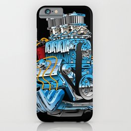 Classic Muscle Car Hot Rod Chrome Racing Engine Cartoon iPhone Case