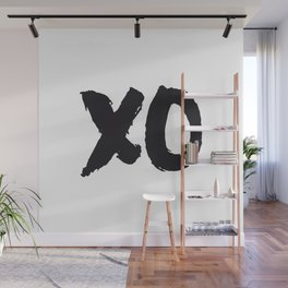 XOXO Hugs and Kisses black and white gift for her girlfriend bedroom art and home room wall decor Wall Mural