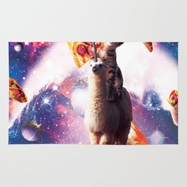 Laser Eyes Space Cat Riding On Surfing Llama Unicorn Rug