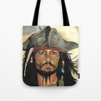 jack sparrow Tote Bags featuring Captain Jack Sparrow by marysiak