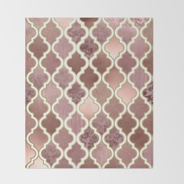 Rosegold Pink and Copper Moroccan Tile Pattern Throw Blanket