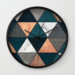 Copper, Marble and Concrete Triangles 2 with Blue Wall Clock