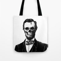lincoln Tote Bags featuring Abraham Lincoln by Motohiro NEZU