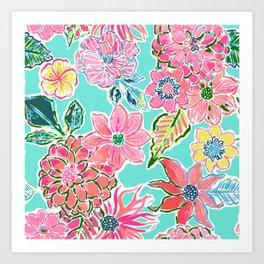 Fun Bright Whimsical Preppy Floral Print / Pattern Art Print