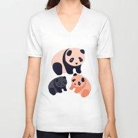 pandas V-neck T-shirts featuring Somos Pandas by Pamku