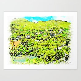 Hill with villas on the river Art Print