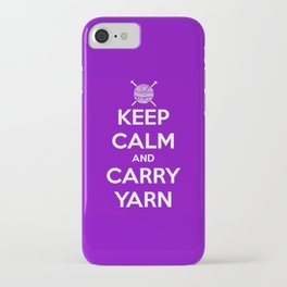 Keep Calm and Carry Yarn - Purple solid iPhone Case
