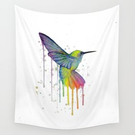 Hummingbird Watercolor Wall Tapestry