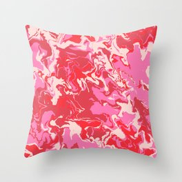 Pink and Red Abstract Art Throw Pillow