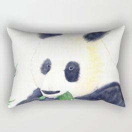 Giant Panda eating Bamboo Watercolor Painting Rectangular Pillow