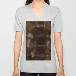 Brown abstract Unisex V-Neck