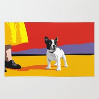 terrier Area & Throw Rugs featuring Boston terrier by Matt Mawson