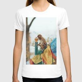 Monkey on Prayer Flags T-shirt