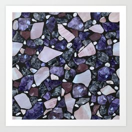 Gemstone Mosaic - black grout Art Print