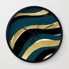 Paint Waves - Navy Wall Clock