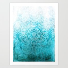 Fade to Teal - watercolor + doodle Art Print