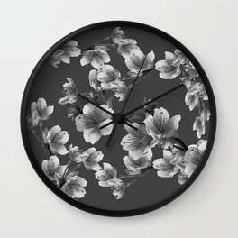 CHARCOAL GREY GARDEN  FRUIT TREES FLOWERS Wall Clock