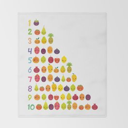 numbers for preschool kindergarten kids kawaii fruit from one to ten Throw Blanket