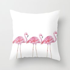 Flamingo - pink bird - animal on white backround Throw Pillow