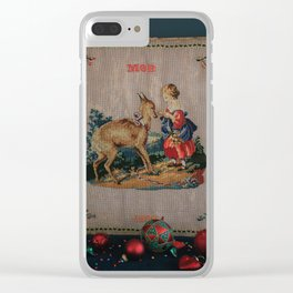 Sweet Antique Sampler about Love, Girl Feedig a Roe Deer. Made in 1892 Clear iPhone Case