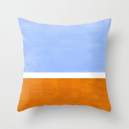 Pastel Royal Blue Yellow ochre Mid Century Modern Abstract Minimalist Rothko Color Field Squares Throw Pillow