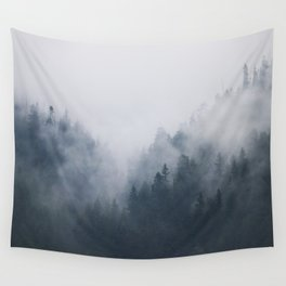 Misty Mountain Trees Wall Tapestry