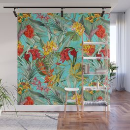 Vintage & Shabby Chic - Colorful Tropical Blue Garden Wall Mural