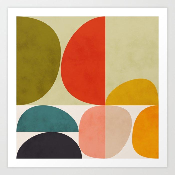 shapes of mid century geometry art Kunstdrucke