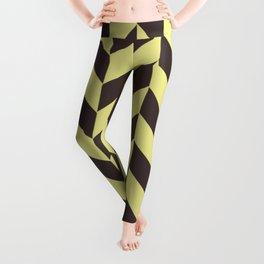 Pastel yellow and charcoal black chevron pattern Leggings