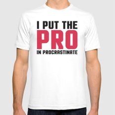 Pro In Procrastinate Funny Quote White MEDIUM Mens Fitted Tee