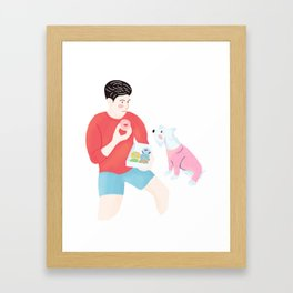 Dog wants Donuts Framed Art Print