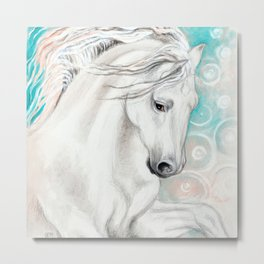 Andalusian Horse Blue Metal Print