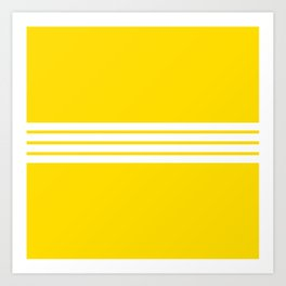 Classic White Stripes on Yellow Art Print