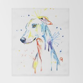 Greyhound Colorful Watercolor Pet Portrait Painting Throw Blanket