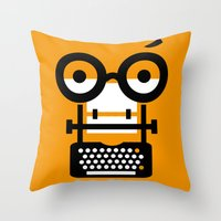 typewriter Throw Pillows featuring typewriter by oguzhan