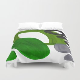 Mid Century Vintage 70's Design Abstract Minimalist Colorful Pop Art Olive Green Dark Green Grey Duvet Cover