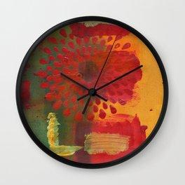 Red Spray Flower Wall Clock