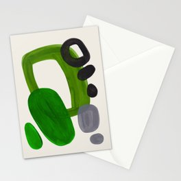 Minimalist Modern Mid Century Colorful Abstract Shapes Olive Green Retro Funky Shapes 60's Vintage Stationery Cards